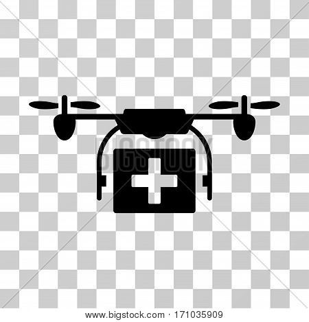 Ambulance Drone icon. Vector illustration style is flat iconic symbol black color transparent background. Designed for web and software interfaces.