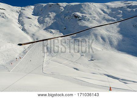 Zermatt Switzerland -The train track of the Gonergratbahn mountain in the famous ski resort of Zermatt.