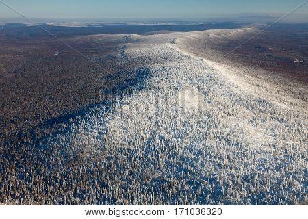 Ridge Karatau, Ural Mountains. Russia top view