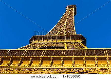 Eiffel Tower view from Champ de Mars in Paris, France.