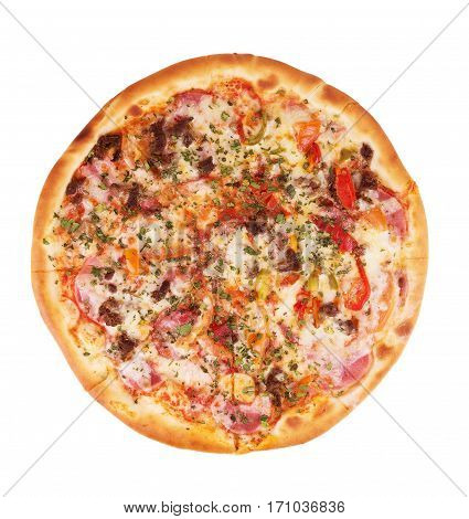 Delicious italian pizza over white Dough, Chopped, Salami, Sin, Toppings, Tibia