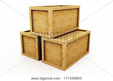 Wooden crate 3d illustration isolated on white background