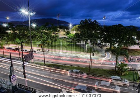 Traffic On The Avenue Presidente Wilson At Night