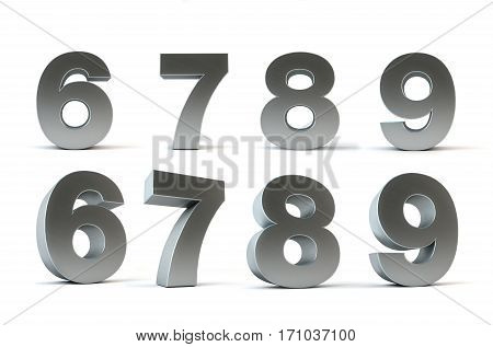 Metal numbers 3d rendering isolated path save 6, 7, 8, 9