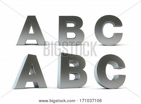 Metal alphabet 3d rendering isolated path save, A, B, C