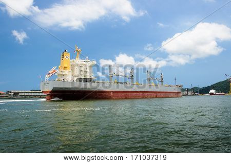 Large Cargo Ship Arriving At The Port Of Santos