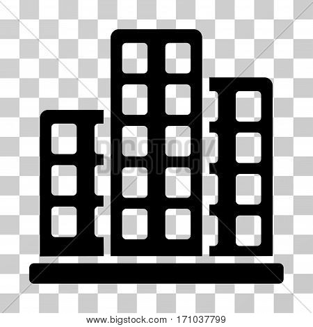 City icon. Vector illustration style is flat iconic symbol black color transparent background. Designed for web and software interfaces.