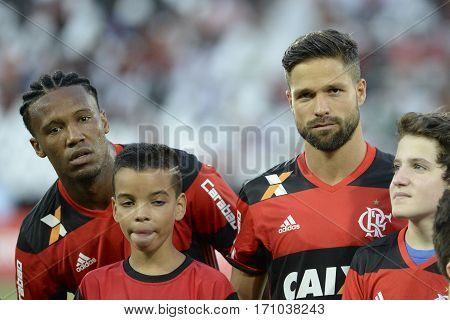 Rio Brazil - february 12 2017: Diego e Rafael Vaz during Botafogo X Flamengo held at the Nilton Santos Stadium for the 4th round of the Carioca championship (Guanabara Cup)