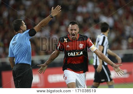 Rio Brazil - february 12 2017: Rever during Botafogo X Flamengo held at the Nilton Santos Stadium for the 4th round of the Carioca championship (Guanabara Cup)