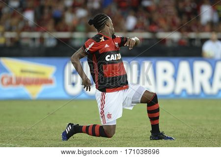 Rio Brazil - february 12 2017: Rafael Vaz during Botafogo X Flamengo held at the Nilton Santos Stadium for the 4th round of the Carioca championship (Guanabara Cup)