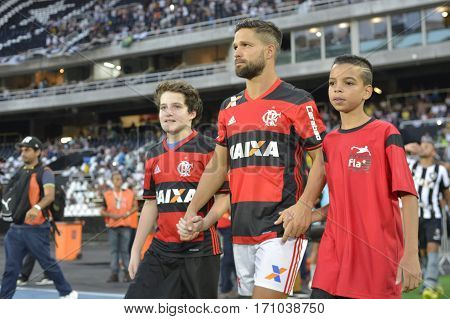 Rio Brazil - february 12 2017: Diego during Botafogo X Flamengo held at the Nilton Santos Stadium for the 4th round of the Carioca championship (Guanabara Cup)
