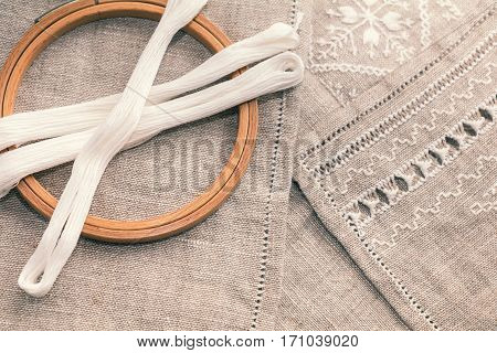 Set For Embroidery With Thread White Color