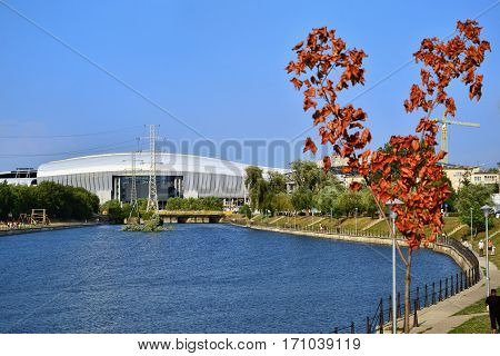 CLUJ-NAPOCA ROMANIA - JULY 22 2012: Cluj Arena stadium on the banks of the Somesul-Mic river. Besides sport events Cluj Arena is the home of the famous Untold festival held annually.