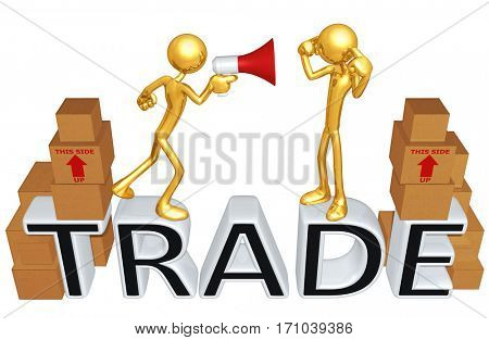Trade Law Legal Concept With The Original 3D Characters Illustration