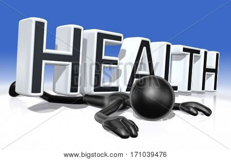 The Original 3D Character Illustration Crushed By The Word Health