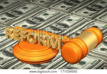 Reform Legal Gavel Concept 3D Illustration