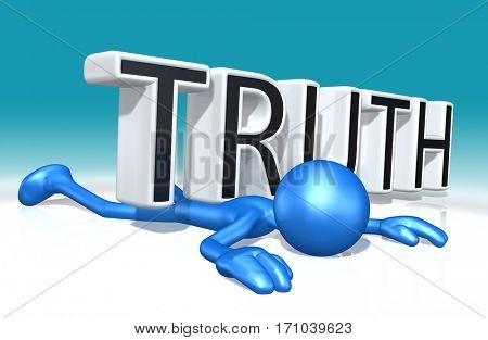 The Original 3D Character Illustration Crushed By The Word Truth