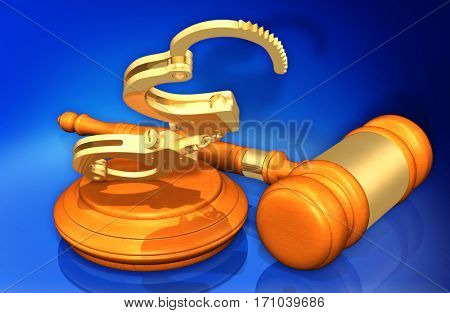 Handcuffs Legal Gavel Concept 3D Illustration
