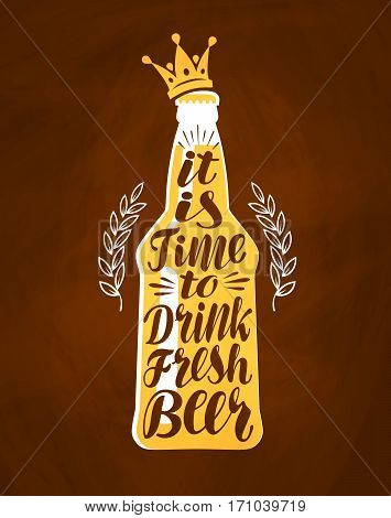 Bottle of beer with hand drawn lettering. Vintage drawing for bar menu
