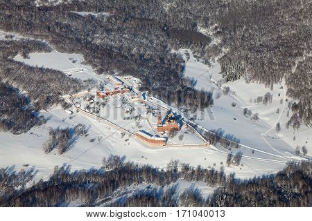Assumption St. George Monastery in winter, aerial view