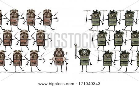 Cartoon collage - Soldiers and battle