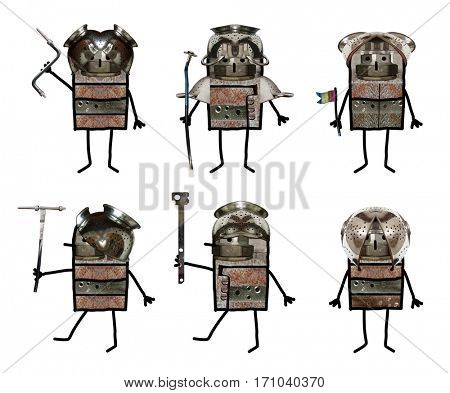 Cartoon collage - Six soldiers
