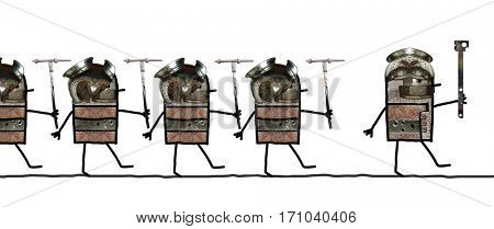 Cartoon collage - Soldiers line