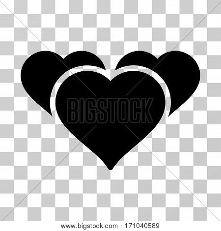 Favourite Hearts icon. Vector illustration style is flat iconic symbol black color transparent background. Designed for web and software interfaces.