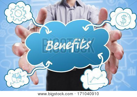 Business, Technology, Internet And Marketing. Young Businessman Thinking About: Benefits