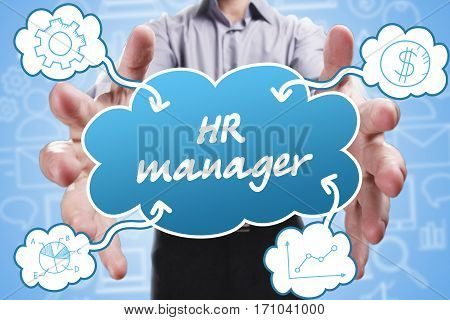 Business, Technology, Internet And Marketing. Young Businessman Thinking About: Hr Manager