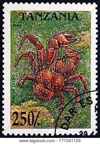 TANZANIA - CIRCA 1994: a stamp printed in Tanzania shows Coconut crab birgus latro is the largest land-living arthropod in the world circa 1994