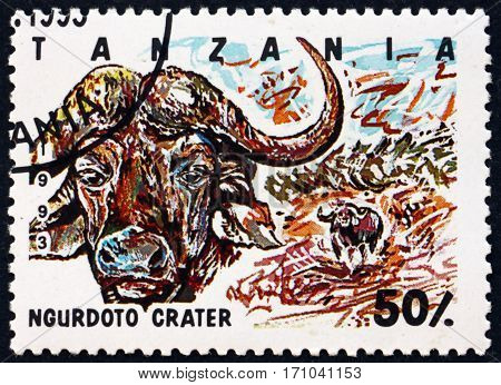 TANZANIA - CIRCA 1993: a stamp printed in Tanzania shows Ngurdoto crater national park circa 1993