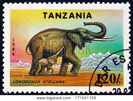 TANZANIA - CIRCA 1994: a stamp printed in Tanzania shows African bush elephant loxodonta africana animal circa 1994
