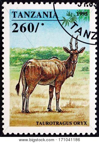 TANZANIA - CIRCA 1995: a stamp printed in Tanzania shows Eland antelope taurotragus oryx is an African antelope circa 1995