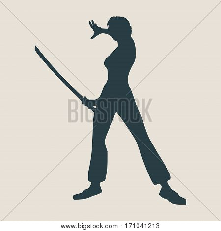 Karate martial art silhouette of woman in sword fight karate pose