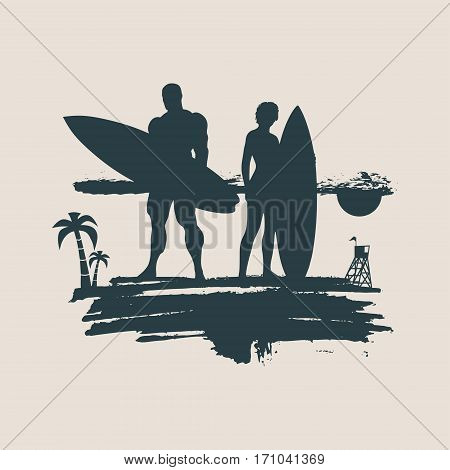 Woman and man posing with surfboard on grunge brush stroke. Monochrome silhouette. Vector illustration. Vintage Surfing Graphic and Emblem for web design or print. Palm and lifeguard tower on backdrop