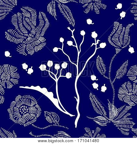1950s and 1960s motifs. Retro textile design collection.