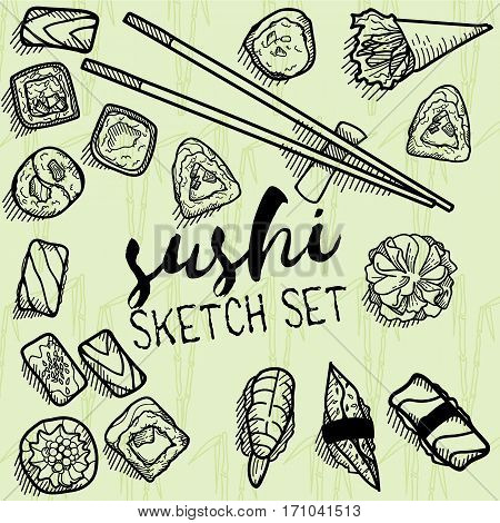 Sushi sweets vector set. Illustrations in sketch style. Hand drawn design elements.