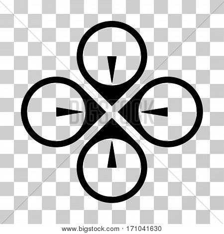 Fly Drone icon. Vector illustration style is flat iconic symbol black color transparent background. Designed for web and software interfaces.