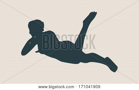 Vector illustration of a woman lying on the floor isolated over a grey background. Relaxing pose