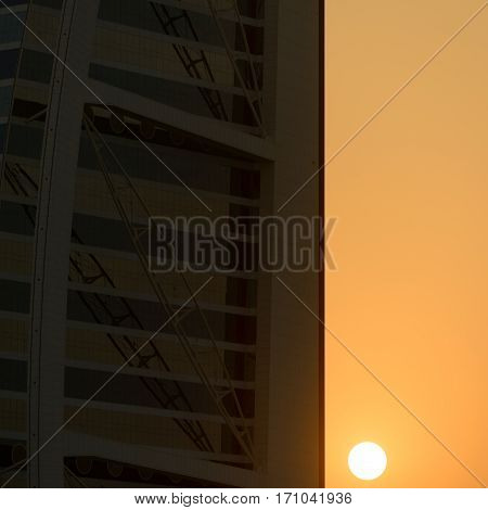 DUBAI UAE - NOVEMBER 23 2016: Abstract images of sunset at the Burj Al Arab in Dubai a 7-star hotel built on an artificial island.