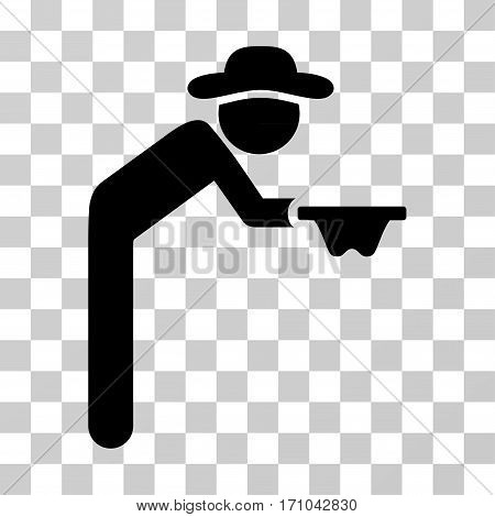 Gentleman Beggar icon. Vector illustration style is flat iconic symbol black color transparent background. Designed for web and software interfaces.