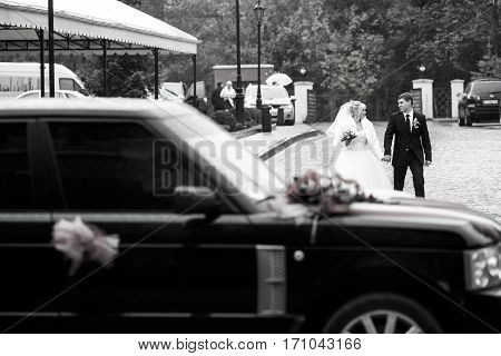 A Wedding Couple Goes To The Range Rover Along The Path