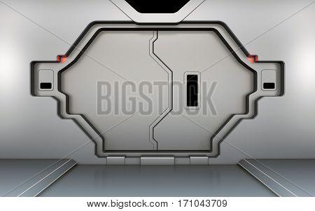 Futuristic metallic door, gate or entrance in spaceship interior 3d render