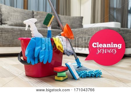 Cleaning service. Bucket with sponges, chemicals bottles and mopping stick. Rubber gloves, plunger and towel. Speech bubble. Household equipment.