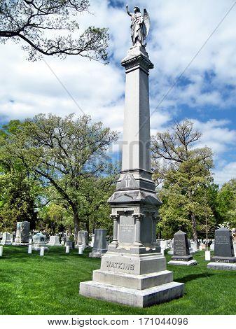 Arlington USA - April 9 2010: Robert Watkins Memorial on the Arlington National Cemetery.