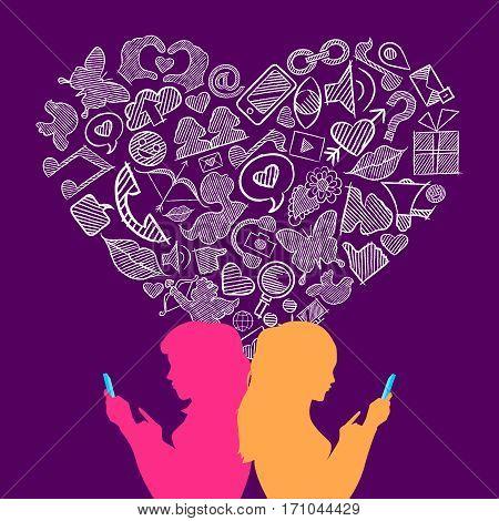 Social Media Lesbian Love Internet Icons Concept