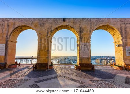 Valletta Malta - Beautiful summer morning view from Valletta the capital city of Malta with blue sky