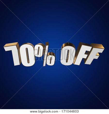 70 percent off letters on blue background. 3d render isolated.