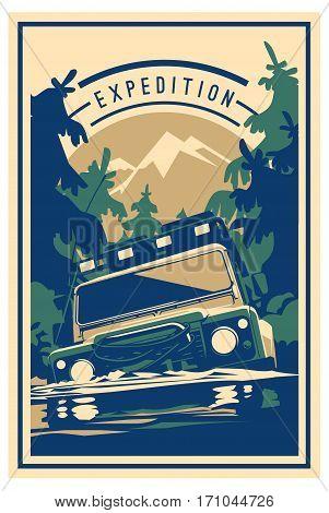 Off-road car logo, safari suv, expedition offroader. Vector illustration for sticker, poster, emblem or badge
